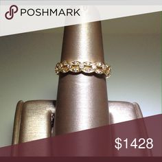 Gold and Diamond eternity band. 18kt yellow gold diamond eternity band with mill grain. BeverlyK Jewelry Rings
