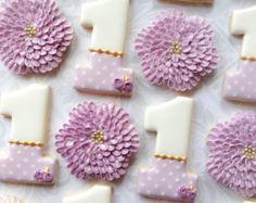 Chicas primer cumpleaños número 1 (uno) y flores-una docena decoradas galletitas