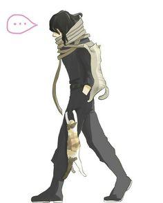 Aizawa with cats