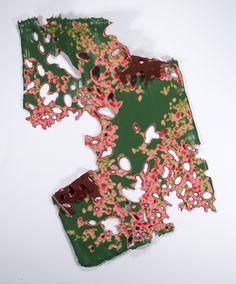 "Bloom Fade, 2012, acrylic paint & acetate, approx. 19"" x 13.5"" x 3"" by Kris Scheifele"