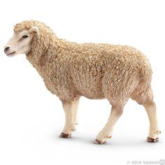 """Ranging from one hundred to four hundred pounds, sheep generally grow to be as old as a decade or two. Figure measures approximately 3.25"""" long x 2.25"""" tall. Part of the Farm Life Series by Schleich."""