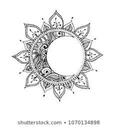 Luna Tattoo, Moon Sun Tattoo, Tattoo Bein, Sun And Moon Tattos, Dotwork Tattoo Mandala, Mandala Tattoo Design, Mandala Drawing, Mandala Tattoo Back, Sun Drawing