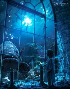 The Light Inside of Me by Wesley-Souza on DeviantArt Fantasy Art Landscapes, Fantasy Landscape, Fantasy City, Fantasy World, Arte Do Harry Potter, Underwater City, Illustration Art, Illustrations, Scenery Wallpaper
