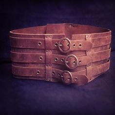 Leather Steampunk Pirate Gladiator Armor Kidney Belt. $175.00, via Etsy.