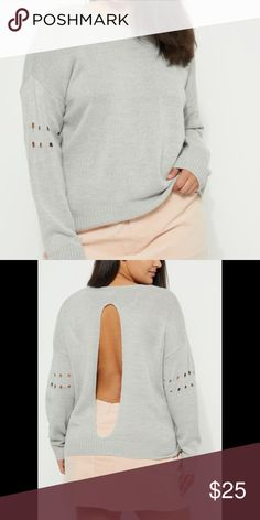 ➕🆕 Sexy  💗💗 Gray Open Back Sweater Break free from the traditional in this cute sweater. Made of ribbed knit, featuring a split back and openwork dots across the elbows of the sleeves.  rue+ Collection 100% acrylic Rue21 Sweaters Crew & Scoop Necks