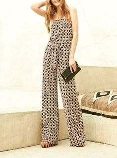 Trend alert! Love this gorgeous Diane von Furstenberg silk jumpsuit paired with the wedge sandal and envelope clutch.