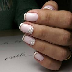 Wedding Nail Art Designs - Pearls and French Tips - Beautiful And Classy Nailart and Nail Ideas for The Bride and The Bridesmaid that you will Love. These posts contain Ideas For French Manicures, Silver, Blue, Red, Pale Pink, Simple, And Sparkle Nail Ideas. There Are Step By Step Tutorials And Make For Awesome Bling For Weddings, Prom, Graduation, or any Event On The Town - http://thegoddess.com/wedding-nail-art-design