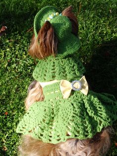 Green and Yellow Crochet Dog Dress por MaxMilian en Etsy