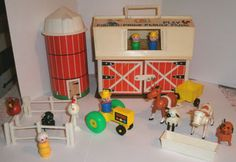 still have all my little people. barn, school, parking garage, circus train...
