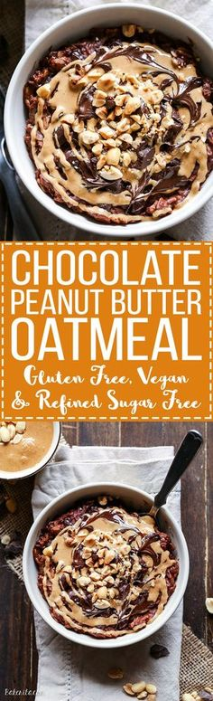 This Chocolate Peanut Butter Oatmeal tastes like a peanut butter cup, but it's sweetened with just a ripe banana! You'll love to wake up to this gluten-free, refined sugar-free + vegan breakfast.