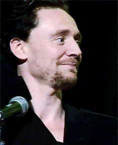 """""""Tom Hiddleston when the cast of Thor was asked whose costume was the hardest to get into."""" (gif) // HAHA. Tom. XD"""