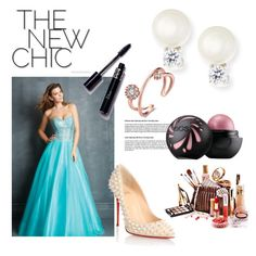 A-line Strapless Sleeveless Tulle Prom Dress With Beaded by johnnymuller on Polyvore featuring Christian Louboutin and Fantasia by DeSerio