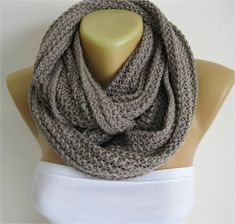 Scarf-Chunky Knit Scarf  crochet infinity scarf by MebaDesign