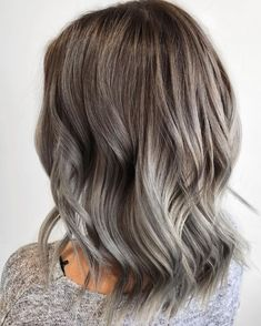 60 Shades of Grey: Silver and White Highlights for Eternal Youth - Light Brown Hair With Gray Balayage - Brown Hair With Silver Highlights, Grey Brown Hair, Brown Hair Shades, White Highlights, Silver Grey Hair, Light Brown Hair, Brown Hair Colors, Grey Light, Ash Brown