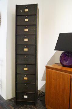 Vintage French Industrial Metal 10 Drawer Engineers Cabinet