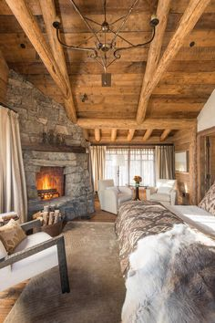 Cozy Master Bedroom. Love that fireplace. I would not want to leave my bed in the winter.