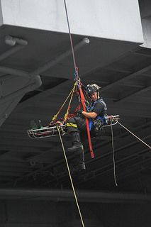 Firefighters demonstrated how they do a high angle rescue during FDNY Appreciation Weekend at the Intrepid Museum on Oct. 11, 2014.