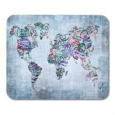 Blue Immigration World Map Created Passport Stamps Travel Many Tourism Mousepad Mouse Pad Mouse Mat 9x10 inch