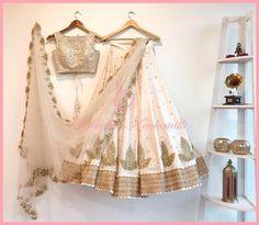 A beautiful ivory gold lehenga by Geethika Kanumilli. #Frugal2Fab