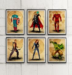 Avengers Illustrative Poster Set / Captain America, Iron Man, Thor, Hulk etc. #Minimalism