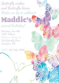 Butterflies  Free Printable Birthday Invitation Template