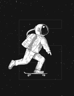 "An illustration of series ""Skate outer space"", about astronaut diving on penny-board These are great for T - shirt hodie, flyers, posters, illustrations or Astronaut Drawing, Astronaut Illustration, Space Illustration, Art Simple, Space City, Space Drawings, Astronauts In Space, Photocollage, Grafik Design"