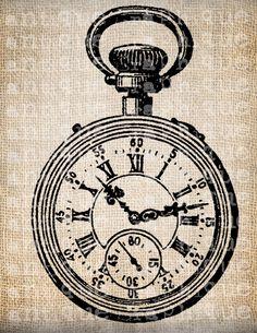 Antique Pocket Watch Clock Illustration Digital Download for Tea Towels, Papercrafts, Transfer, Pillows, etc Burlap No. 5635. $1.00, via Etsy.