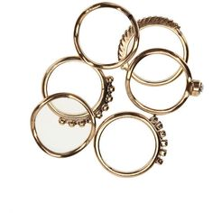 Stacked Rhinestone Rings - Set of 6 - Brass - Size 8 (515 UYU) ❤ liked on Polyvore featuring jewelry, rings, accessories, fillers, stackers jewelry, stacking rings jewelry, stackable rings, etched jewelry and brass jewelry