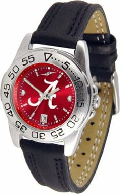 Alabama Crimson Tide NCAA AnoChrome Sport Ladies Watch (Leather Band) by SunTime. $50.14. Rotation Bezel/Timer. Scratch Resistant Face. Calendar Date Function. This handsome, eye-catching watch comes with a genuine leather strap. A date calendar function plus a rotating bezel/timer circles the scratch-resistant crystal. Sport the bold, colorful, high quality NCAA Alabama Crimson Tide logo with pride.The AnoChrome dial option increases the visual impact of any watch with a ...