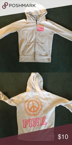 VS PINK cream zip up hoodie VS PINK cream zip up hoodie, in good condition for its age! PINK Victoria's Secret Tops Tees - Long Sleeve