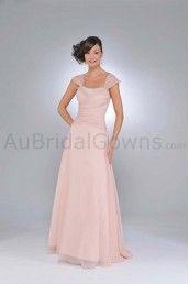 Chiffon A-Line Soft Sweetheart Neckline Cap Straps Floor Length Bridesmaid Dress