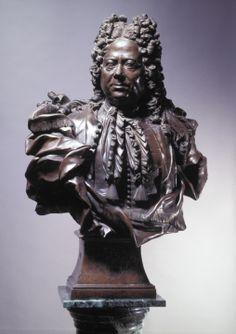 Бартоломео-Карло Растрелли. Портрет неизвестного, бронза, 1732. ГТГ. Парик чрезмерной кудрявости (барокко).
