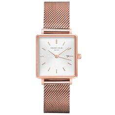 Rosefield Boxy Womens Analog Quartz Watch with Stainless Steel Gold Plated Bracelet Stylish Watches, Luxury Watches, Watches For Men, Women's Watches, Watches Online, Elegant Watches, Mesh Armband, Junghans, Vintage Trends