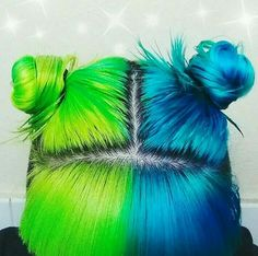 Hair half green and blue