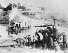 """""""Fowler"""" steam traction engines crossing the Modder River during the Second Boer War. Antique Tractors, Old Tractors, Steam Tractor, Road Train, Old Farm Equipment, Unique Cars, British Colonial, Steam Engine, Military History"""