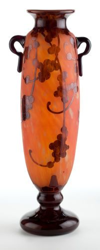 """CHARLES SCHNEIDER LE VERRE FRANCAIS GLASS PERLIERES VASE Orange glass vase with violet base and overlay, acid-etched in Perlieres pattern, circa 1925. Engraved: Le Verre Francais. H. 21-1/2"""" (54.6 cm) C. Schneider Glassworks. Ref.: p. 134, Joulin and Maier, (similar) (hva)"""