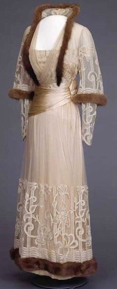 Mink-Trimmed Evening Dress