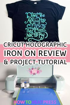Cricut Holographic Iron On Vinyl Review Cricut Heat Transfer Vinyl, Iron On Cricut, Cricut Iron On Vinyl, Cricut Tutorials, Cricut Ideas, Crafts For Teens To Make, Vinyl Shirts, Vinyl Cutting, Personalized T Shirts
