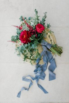 Simple eucalyptus bouquet with pops of red. Eucalyptus Bouquet, Wedding Flowers, Wedding Day, Portrait Photography, Wedding Photography, Greece Wedding, Blue Ribbon, Go Green, Dusty Blue