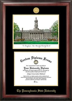 penn state university gold embossed diploma frame with campus images lithograph - Diploma Frames Walmart