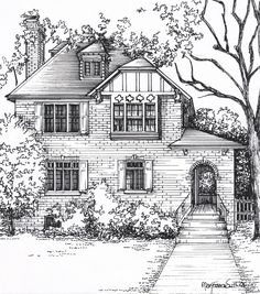 Beau A Very Detailed Drawing Of A Two Story House Using Black Pen