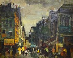 Oil on Canvas Paris Street Scene : Lot 513