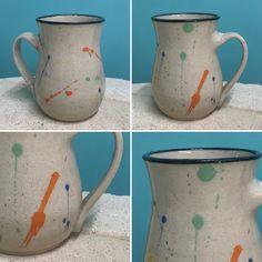 Wheel-thrown stoneware mug with colour splashes and black rim Black Rims, Stoneware Mugs, Color Splash, Ceramics, Colour, Tableware, Glass, Ceramica, Color
