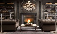 gray-restoration-hardware-library-decorating-ideas-chesterfield-sofa-leather