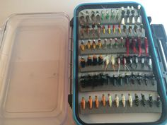 120 WET, DRY, NYMPHES FLIES IN FLY BOX