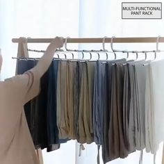 No need to iron your clothes! Always keep your clothes tidy! Stylish and Durable: Our metallic Pants Rack is durable, rustproof, and stylish. Space Saving Design: The adjustable storage rack can b Small Closet Organization, Closet Storage, Storage Rack, Organization Ideas, Organiser Son Dressing, Organizar Closet, Pants Rack, Diy Clothes Videos, Home Organization Tips