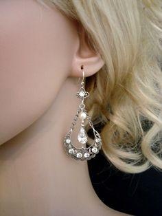 Bridal chandelier earrings with Swarovski ivory by treasures570, $40.00