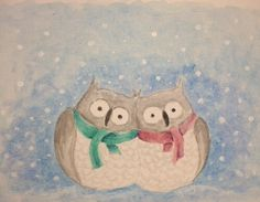 Snuggled up together like two birds of a feather . . . Watercolor Christmas Card by Jason Gianfriddo