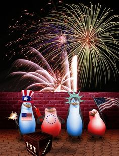 Patriotic-Penguins-on-the-Fourth-of-July