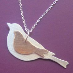 Mother and Baby Bird Necklace by sudlow on Etsy